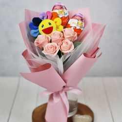 해바라기 인형 킨더조이 비누 꽃다발 졸업식 재롱잔치 학예회 M