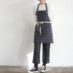 corduroy dot apron [ gray ]