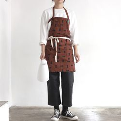 corduroy dot apron [ brown ]