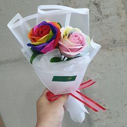 무지개장미 2송이 미니꽃다발