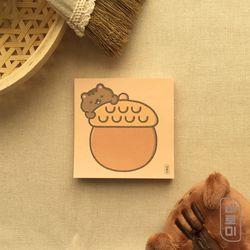 아기 다람쥐와 왕 도토리 사각 메모지