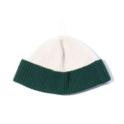 2 Block WOOL BEANIE (moss green ivory)