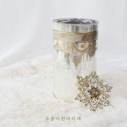 빈티지 골드 드로잉 유리 화병 - medium