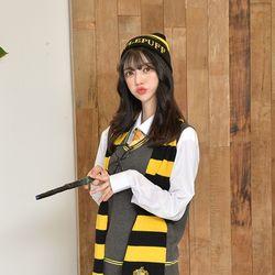 마법학교 기숙사 레터링 옐로우 비니