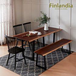 핀란디아 레드파인 우드슬랩 1600식탁세트(의자3벤치)