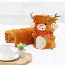 사무실 학교 따뜻한 겨울 귀여운 루돌프인형 무릎담요