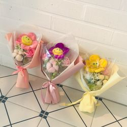 미니 스마일꽃인형꽃다발 3color