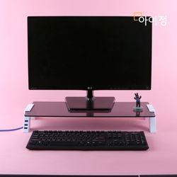 아이정 스마트독컴팩트 USB 모니터받침대 C690 블랙유리화이트