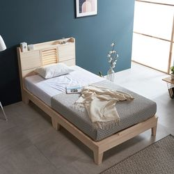 웰 편백나무 Q 마루형 LED 원목 침대매트포함 FMF185