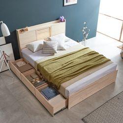 웰 편백나무 Q 서랍형 LED 원목 침대 FMF181
