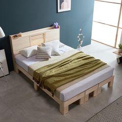 웰 편백나무 Q 평상형 LED 원목 침대 FMF180