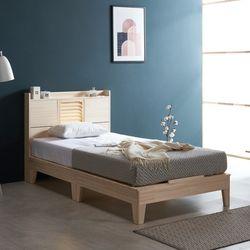 웰 편백나무 Q 마루형 LED 원목 침대 FMF175