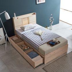 웰 편백나무 SS 서랍형 LED 원목 침대 FMF178