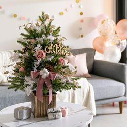 DIY 호텔식 핑크로즈 크리스마스 60cm 트리(전구선택)