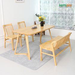 로마노 4인원목식탁세트(벤치의자) KEP-413
