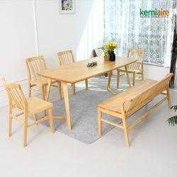 로마노 6인원목식탁세트(벤치의자) KEP-613