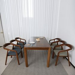 나딘 고무나무 원목 6인 의자형 식탁세트