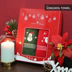 크리스마스수건 140g 2장 선물세트 (박스 쇼핑백포함)