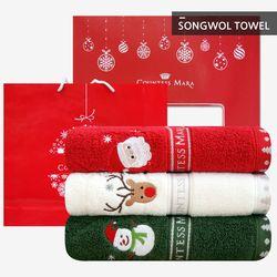 크리스마스수건 140g 3장 선물세트 (박스 쇼핑백포함)