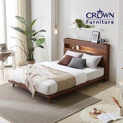 카페에디트 멀바우 LED 조명 침대 Q 퀸 독립 매트 포함