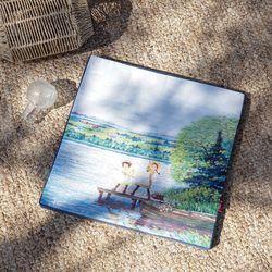 빨강머리앤 명화 방석 커버 45x45x3cm 블루