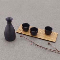 NEMO 달소금 도자기 도쿠리잔세트 꽃봉 올블랙 주병세트(4P)