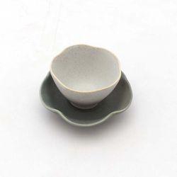 NEMO 달소금 도자기 무광 꽃잎 찻잔세트-다크그레이