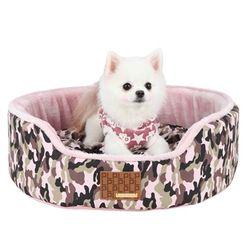 퍼피아 밀리터리 하우스 강아지 방석(핑크) M