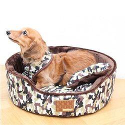 퍼피아 밀리터리 하우스 강아지 방석(브라운) M