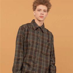 헤비오버핏 WOOL brown 체크 셔츠