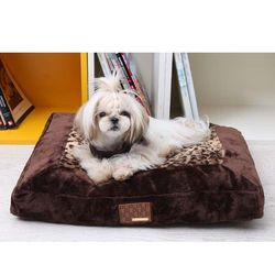 퍼피아 표범무늬 사각 강아지 방석(브라운) M