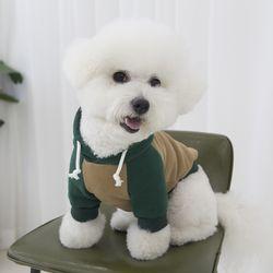 강아지옷 배색 기모 후드티 카키