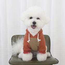 강아지옷 배색 기모 후드티 오렌지