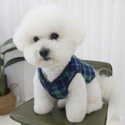 코듀로이 강아지 체크 양면 패딩 조끼 블루