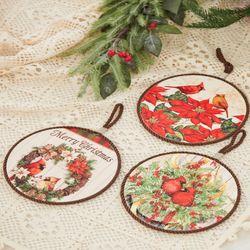 크리스마스 장식 새 냄비받침(3type)