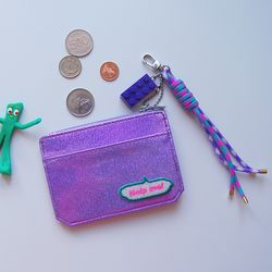 퍼플 펄샤인 동전 카드지갑