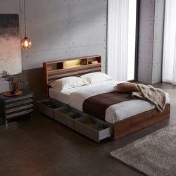 홈잡스 웬디 LED 조명 콘센트 수납형 서랍형 평상 퀸 침대