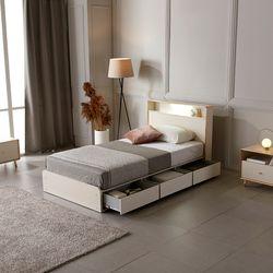 홈잡스 윌리엄 LED 조명 콘센트 수납형 서랍형 슈퍼싱글 침대