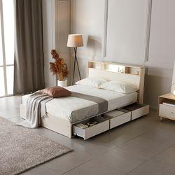 홈잡스 윌리엄 LED 조명 콘센트 수납형 서랍형 퀸 침대
