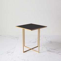 CROSS BEDSIDE TABLE - BLACK 블랙 사각유리테이블 거실협탁