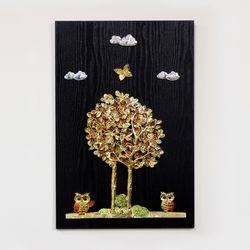 (kdyg006)행복나무 부엉이 벽장식(4060)