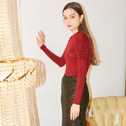 Shirring Sleeve T Burgundy