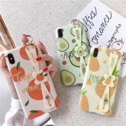 아이폰 귀여운 과일패턴 스트랩 실리콘 휴대폰 케이스