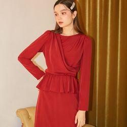 Layered Wrap Dress Burgundy