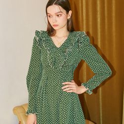 Ruffle Point Mini Dress Green