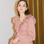 Ruffle Point Mini Dress Pink