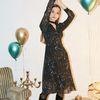 Chiffon Shirring Midi Dress Black