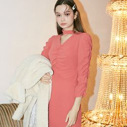 Choker Midi Dress Coral