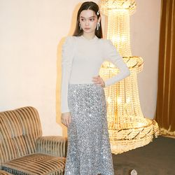 Spangle Mermaid Skirt Silver