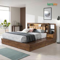 프리미엄 고무나무원목 침대프레임(일체형KQ) KBD-402